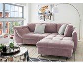 Ecksofa inkl. Bettkasten in rosa Microfaser bezogen, inkl. Schlaffunktion, Wellenunterfederung und Komfortschaum, Maße: B/H/T ca. 250/84/190 cm
