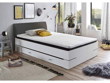 Futonbett in Weiß und Anthrazit, Komplettset mit Matratze, Rollrost, PU-Topper und Bettschubkasten, Liegefläche 140 x 200 cm