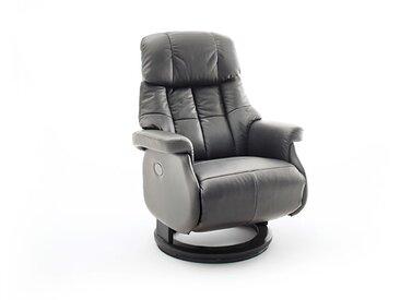 Relaxsessel-Komfort mit elektrischer Bedienung, in Echtleder schlamm, Gestell schwarz, Maße: B/H/T ca. 82/84-111/86-162 cm