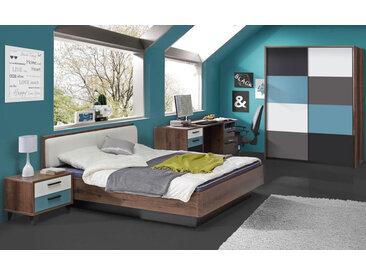 3-tlg. Jugendzimmer in Schlammeiche-Dekor/grau, weiß, schwarz und blau, Schrank B: 170 cm, Bett 140 x 200 cm, Nachtschrank B: 50 cm
