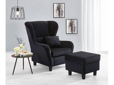 Sessel, Ohrensessel mit Hocker und Zierkissen in schwarzem Samt bezogen, Füße schwarz