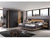 Schlafzimmer 4-tlg. in grau-metallic mit Absetzungen in Eiche Wotan-NB, Drehtürenschrank B: ca. 226 cm, Liegefläche 180 x 200 cm, Bettbreite 279 cm
