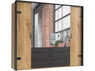 Drehtürenschrank 5-trg. in Plankeneiche-Nachbildung mit Absetzungen in Stahl-Optik, Metall-Applikationen, Maße: B/H/T ca. 250/216/58 cm