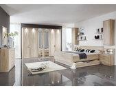 Schlafzimmer Eiche-sägerau-Nachbildung, Rillenfräsung, Kleiderschrank B: ca. 300 cm, Bett Liegefläche: ca. 180x200 cm, Nachtschränke je B: ca. 60 cm