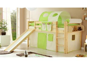 Rutschbett in Kiefer massiv inkl. Leiter und Rutsche, Vorhang in Grün-Beige, Liegefläche 90x200 cm, Oberfläche lackiert, Maße: B/H/L ca. 96/114/205 cm