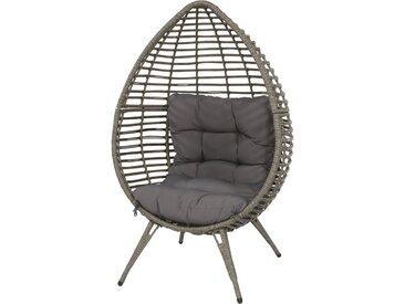 Relax Stuhl mit einem Geflecht in grau-braun und 1 Kissen in grau, Maße: B/H/T ca. 99/156/91 cm