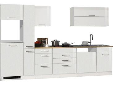 Küchenblock, weiß Hochglanz, Stellmaß: ca. 330 cm, ohne Elektrogeräte