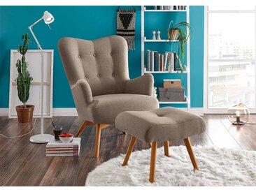 Sessel mit Hocker in beige-braunem Webstoff bezogen mit Schaumstoffpolsterung, Füße aus Massivholz, Maße: B/H/T ca. 77/101/100 cm