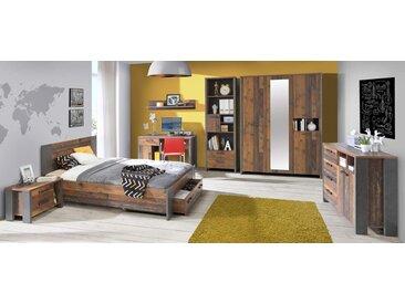 4-tlg. Jugendzimmer in Braun und Grau, bestehend aus Kleiderschrank B: 156 cm, Bett 140 x 200 cm, Nachtschrank B: 62 cm, Schreibtisch B: 126 cm