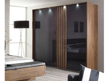 2-trg. Schwebetürenschrank in Eiche Stirling-NB mit Glasfront in basalt-grau, 2 Einlegeböden, 2 Kleiderstangen, Maße: B/H/T ca. 226/210/62 cm