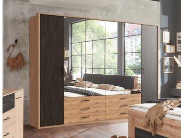 Drehtürenschrank 6-trg., Artisan Eiche Nachbildung mit Absetzungen in Stahl-Optik, mittig 4 Spiegeltüren, Maße: B/H/T ca. 270/210/58 cm