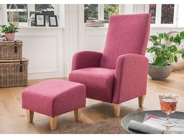 Sessel mit Hocker in pinkem Webstoff bezogen mit Wellenunterfederung und Kaltschaumpolsterung, Füße Holz Buche, Maße: B/H/T ca. 70/102/78 cm