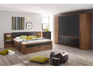 4-tlg. Schlafzimmer in Eiche Stirling NB mit Abs. in grau, Drehtürenschrank B: 271 cm, Bettanlage Liegefläche 180 x 200 cm Gesamtbreite: 285 cm