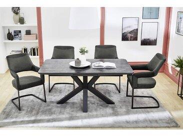 Auszugstisch in Grau, Tischplatte Keramikoptik auf Glas, Gestell Metall grau gepulvert, Maße B/H/T ca. 160-200/76/90 cm