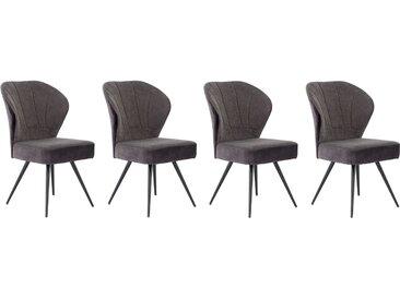 Stuhl in anthrazitfarbenem Samtstoff bezogen, Sitzfläche in anthrazitfarbenem Webstoff bezogen, Taschenfederkern-Polsterung, Maße: B/H/T ca. 57/92/65