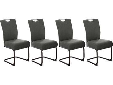 Schwingstühle in grauem Webstoff bezogen, Taschenfederkern-Polsterung, Gestell aus Metall in schwarz, Maße: B/H/T ca. 46/98/61 cm