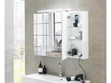 3-trg. Spiegelschrank in weiß Glanz, 6 Glasböden, inkl. LED-Beleuchtung, Maße: B/H/T ca. 80/75/16-20 cm