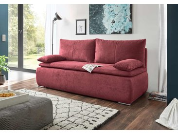 Schlafsofa in rotem Microvelourstoff mit Bettkasten, Schlaffunktion und Armteilverstellung, Maße: B/H/T ca. 208/102/98 cm