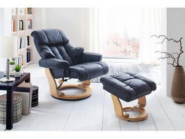 Relaxsessel in schwarzem Echtleder inkl. Hocker, Gestell naturfarben, Maße: B/H/T ca. 90/104-89/91-122 cm