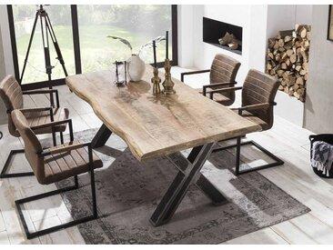 Esstisch mit Tischplatte Mango massiv - natur mit Baumkante, Gestell aus Roheisen im Used-Look, Maße: B/H/T ca. 160/76/90 cm
