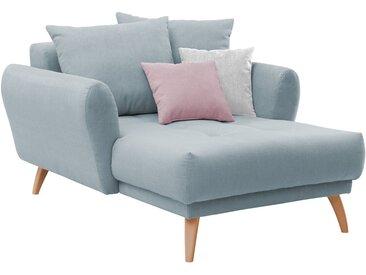 Longchair in pastellblauem Flachgewebe bezogen, inkl. Rücken- und Zierkissen, Holzfüße wildeichefarben, Maße: B/H/T ca. 120/94/156 cm
