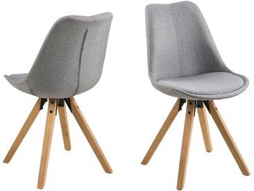 2 Esszimmerstühle in hellgrauen Stoff und Beinen aus Eiche Rubberwood, gebeizt und ölbehandelt, Maße: B/H/T ca. 44/85/42 cm