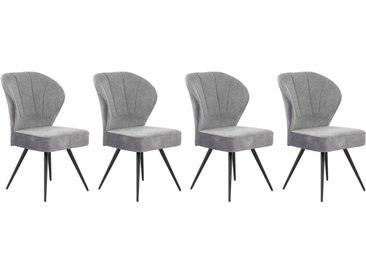 Stuhl in hellgrauem Samtstoff bezogen, Sitzfläche in anthrazitfarbenem Webstoff bezogen, Taschenfederkern-Polsterung, Maße: B/H/T ca. 57/92/65