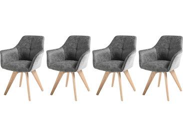 Armlehnstühle in grauem Stoff bezogen, Gestell Eiche massiv, 4er-Set, Maße: B/H/T ca. 65/87/61 cm