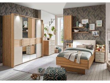 Schlafzimmer in Eiche teilmassiv mit champagnerfarbenen Glasfronten, Drehtürenschrank, Bett mit Liegefläche 100x200 cm und Nachtschrank