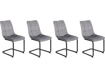 4er-Set Esszimmerstühle in grauem Samtvelour bezogen, Gestell Metall mit Pulverbeschichtung in schwarz, Maße: B/H/T ca. 46/86/61,5 cm