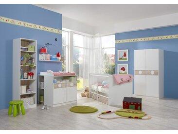 4-tlg. Babyzimmer in Weiß/Eiche-sägerau-Nachbildung, Schrank B: 90 cm, Babybett inkl. Lattenrost 70 x 140 cm, Wickelkommode B: 90 cm