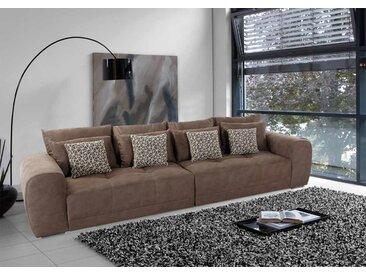 Big Sofa in dunkelbraunem Microfaserstoff mit 4 große Rückenkissen, 4 mittlere und 4 kleine Zierkissen, Maße: B/H/T ca. 306/83/134 cm