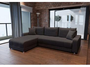Sofa, Ecksofa in braunem Webstoff, 3 Rückenkissen, 2 Zierkissen, Federkernpolsterung, Schlaffunktion u. Bettkasten, Schenkelmaße: ca. 253x180 cm
