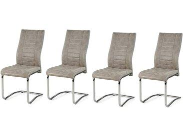 Schwingstühle in Kunstleder grau, Gestell verchromt, 4er-Set, Maße: B/H/T ca. 43/99/58 cm