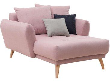 Longchair in rosafarbenem Flachgewebe bezogen, inkl. Rücken- und Zierkissen, Holzfüße wildeichefarben, Maße: B/H/T ca. 120/94/156 cm