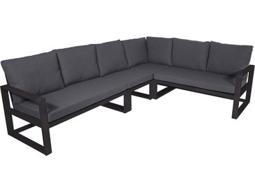 Lounge-Eckbank mit Aluminiumgestell in anthrazit, matt und Kissen in dunkelgrau, Maße: B/H/T ca. 282/86/217 cm