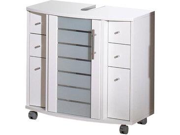 Waschtischunterschrank in weiß mit 2 Türen, 1 Rahmentür, 4 Schubkästen und 4 Rollen, 2 feststellbar, Maße: B/H/T ca. 65/62,5/36,5 cm