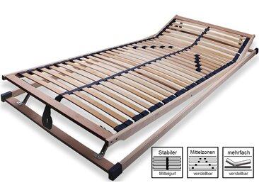 Qualitäts-Schichtholz-Lattenrost, Mittelzonenverstärkung verstellbar, Kopf und Fußteil stufenlos verstellbar, Maße: 90 x 200 cm
