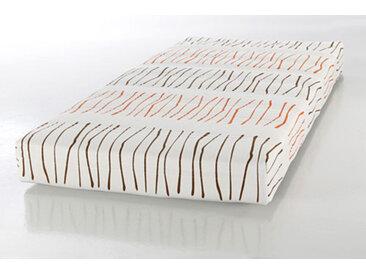 Federkernmatratze, Maße: 90 x 200 cm, im Härtegrad 2, Bezug in Natur mit abgesetzten Streifen in Orange und Braun, Matratzenhöhe ca. 16 cm