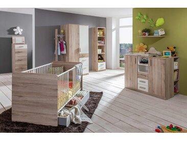 Babyzimmer 4-tlg. in San Remo Eiche Nachbildung mit Abs. in weiß, Babybett B: ca. 80 cm, Wickelkommode B: ca. 122 cm, Kleiderschrank B: ca. 91 cm