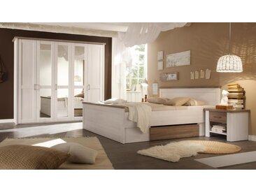 Schlafzimmer 4-tlg. in Pinie-Weiß/Trüffel Dekor, Kleiderschrank B: ca. 235, Bett Liegefläche 180 x 200 cm, 2 Nachtschränke B: je ca.60 cm
