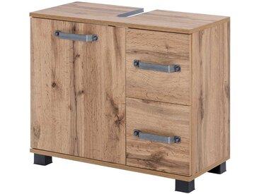 Waschbeckenunterschrank in Wotaneiche-Nachbildung mit 2 Türen und 2 Schubkästen, Maße: B/H/T ca. 65,1/59/32 cm