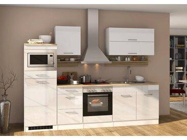 Küchenblock, weiß Hochglanz, Stellmaß: ca. 270 cm, mit Elektrogeräten inkl. Mikrowelle