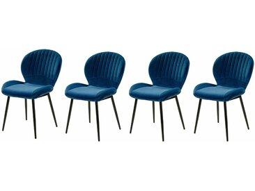 4er-Set Stühle in Samt blau, Gestell Metall schwarz, gepolstert, Maße B/H/T ca. 52/84/59 cm