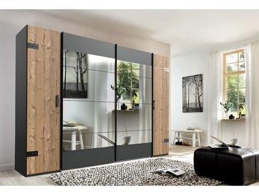 Dreh-/Schwebetürenschrank in Silber-Tannen-Nachbildung, Absetzungen graphit, 4-trg. mit Spiegelflächen, Maße: B/H/T ca. 270/210/65