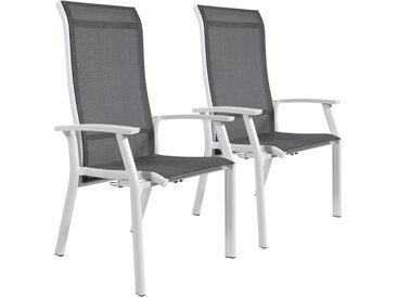 2 Gartenstühle mit Textylenbezug in anthrazit und einem Gestell aus Aluminium in hellgrau, Rückenlehne verstellbar Maße: B/H/T ca. 58,5/112,5/65 cm