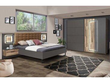 Schlafzimmer in Stabeiche-Dekor und grau, Bettanlage mit 2 Nachtschränken 180 x 200 cm, Schwebetürenschrank