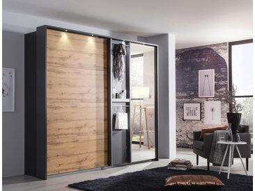 Schwebeürenschrank 2-trg. in grau-metallic mit Fronten in Eiche Wotan-NB, 1 Spiegeltür und Funktionsfront, Maße: B/H/T ca. 226/210/65 cm
