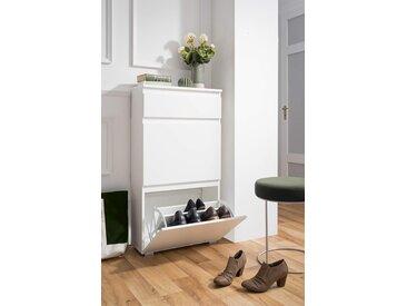 Schuhkipper in weiß matt mit 2 Klappen und 1 Schublade, Maße: B/H/T ca. 58/109/25 cm