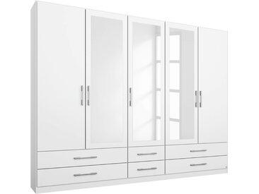 Kleiderschrank in alpinweiß, 5-türig, 3 Spiegeltüren, 6 Schubkästen, 3 Elemente, 3 Böden, 3 Kleiderstangen, Maße: B/H/T ca. 226/210/54 cm